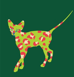 green cat art print vector image
