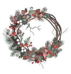 greeting card with a christmas festive floral vector image