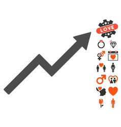 Growth trend chart icon with lovely bonus vector