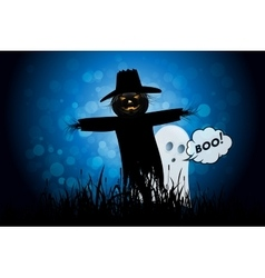 Halloween Background with Ghost and Scarecrow vector
