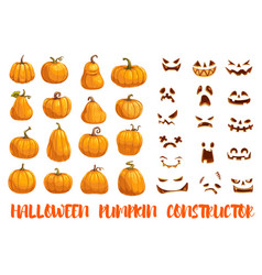 Halloween pumpkin constructor with emotional faces vector