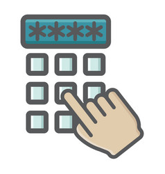 Hand finger entering pin code colorful icon vector