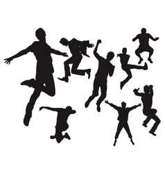 happy healthy free man jumping freedom silhouette vector image
