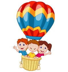 Happy kids cartoon riding a hot air balloon vector