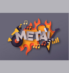Heavy metal rock music quote papercut musical icon vector