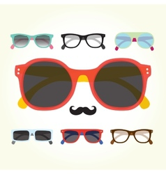 Hipster glasses set vector