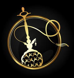 Hookah with a gold ornament in a circle vector