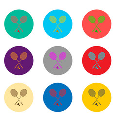 icons logo from set symbols for racket badminton vector image
