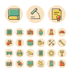 icons thin red science device vector image