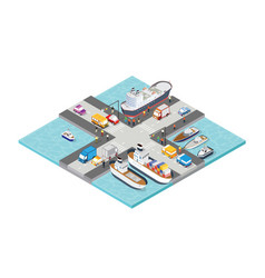 isometric port ship tourism seaport with people vector image