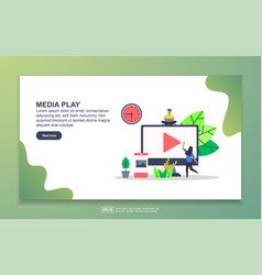landing page template media play modern flat vector image