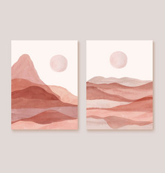 landscapes mountains sun sunset posters vector image