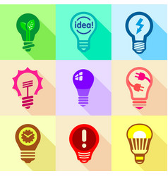 light bulb logo icons set flat style vector image