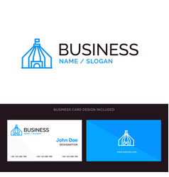 logo and business card template for tent tent vector image