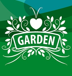 logo from plants ornament with heart vector image