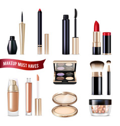 Makeup items realistic set vector