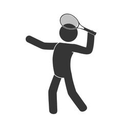 man playing tennis racket icon vector image