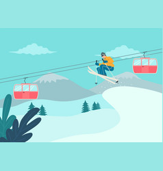 man skiing on snowy mountain vector image