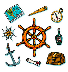 marine set shipboard equipment on a white vector image