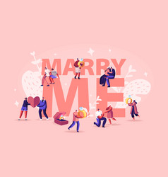 marry me concept men making romantic proposal to vector image