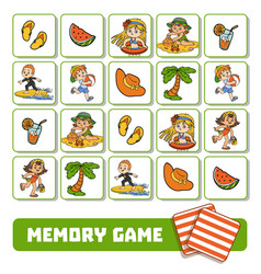 memory game for children cards with summer vector image
