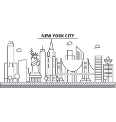new york new york city architecture line skyline vector image