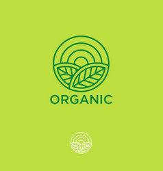 Organic logo farmer products emblem leaves sun vector