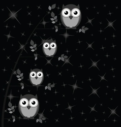 OWL FAMILY TREE STARS vector image