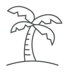 palm tree thin line icon travel and tourism vector image