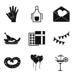 Pleasant evening icons set simple style vector
