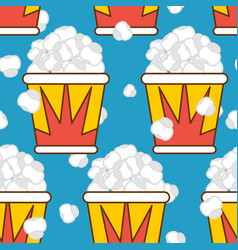 Popcorn seamless pattern food background feed vector