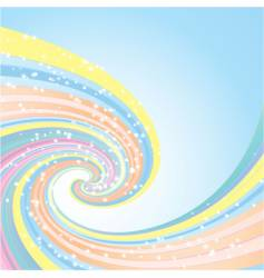 rainbow wave and stars vector image