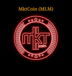 Red neon mktcoin mlm cryptocurrency symbol vector