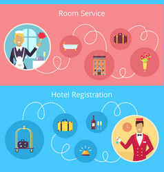 Room service and hotel registration poster vector
