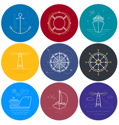 round maritime icons in line style vector image
