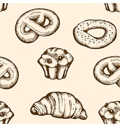 Seamless pattern with vintage bakery vector image