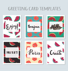 Set 6 ready-made invitations gift cards vector