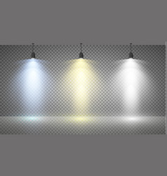 set of colored searchlights on a transparent vector image