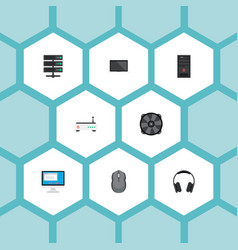 Set of laptop icons flat style symbols with vector