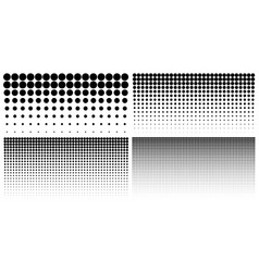 Set of vertical gradient halftone dots backgrounds vector