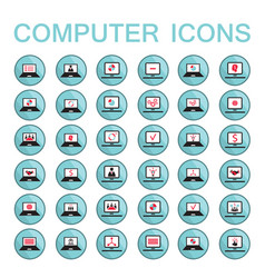 set of web icons computer technology electronics vector image