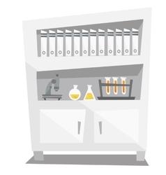 Shelves with folder microscope medical glassware vector