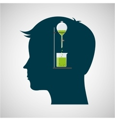 silhouette head chemical experiment laboratory vector image
