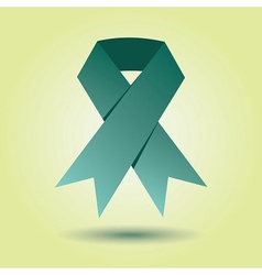 Single emerald green awareness ribbon icon vector