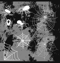 Spiders and spider web silhouette spooky nature vector