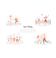 Sport family - family skating playing football vector