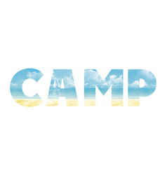 Summer camp in the double exposure vector