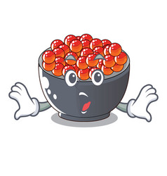 Surprised salmon roe character ready to eat vector