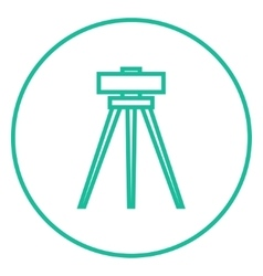 Theodolite on tripod line icon vector