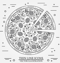 thin line icon pizza For web design and vector image